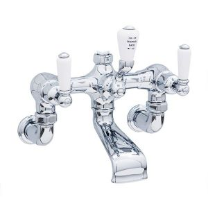 3510 Perrin & Rowe Bath Shower Mixer Tap And Wall Unions With Lever Handles